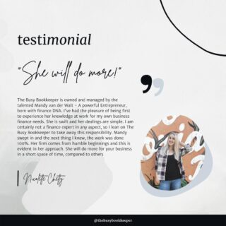 Client testimonials make the late nights and weekend shifts all worthwhile!  We've been serving small business since 2015, and don't intend on packing away our calculators any time soon 💫  Find out more about The Busy Bookkeeper! Link in bio ✴️ 