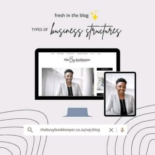 Fresh in the blog ✨   When starting a business, choosing the right business structure to suit your needs is an important step in this process.  I chat about the various business types available to you in this article.  https://thebusybookkeeper.co.za/wp/blog/types-of-business-structures-south-africa